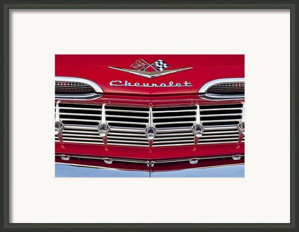 1959 Chevrolet Grille Ornament Framed Print By Jill Reger
