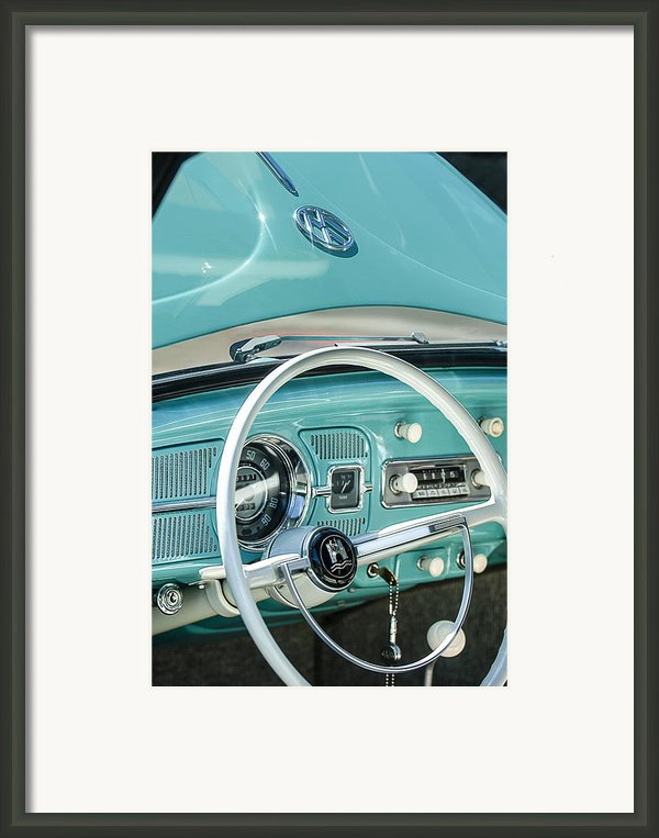 1962 Volkswagen Vw Beetle Cabriolet Steering Wheel Framed Print By Jill Reger