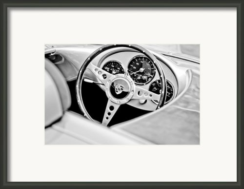 1955 Porsche Spyder Replica Steering Wheel Emblem Framed Print By Jill Reger