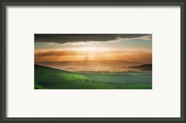 Beautiful English Countryside Landscape Over Rolling Hills Framed Print By Matthew Gibson