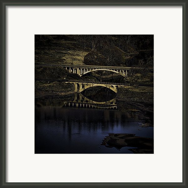 2 Bridges At Dusk Framed Print By Dale Stillman