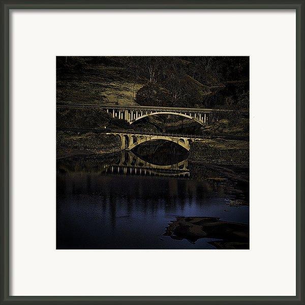 2 Bridges At Dusk Framed Print By Dale Stillman