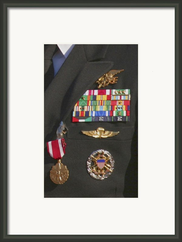 Close-up View Of Military Decorations Framed Print By Michael Wood