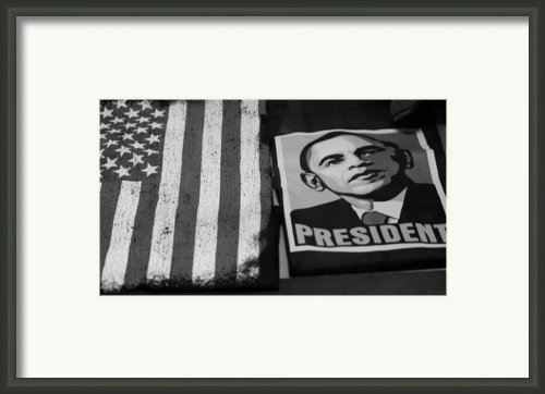 Commercialization Of The President Of The United States Of America In Black And White  Framed Print By Rob Hans