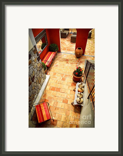 Courtyard Of A Villa Framed Print By Elena Elisseeva