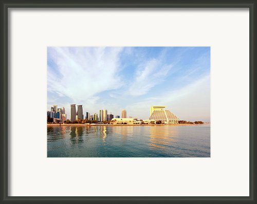 Doha Bay At Sunset Framed Print By Paul Cowan