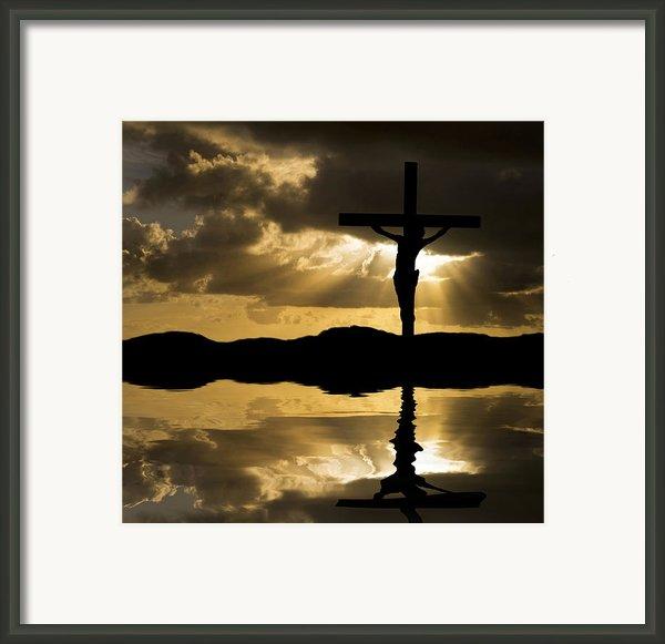 Jesus Christ Crucifixion On Good Friday Silhouette Reflected In  Framed Print By Matthew Gibson