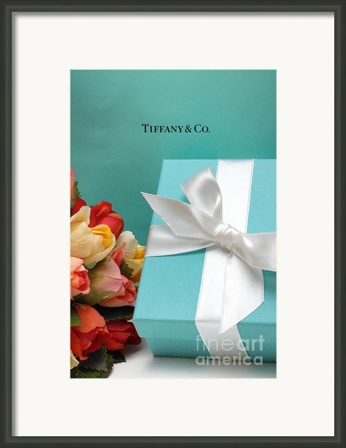 Little Blue Gift Box Framed Print By Amy Cicconi