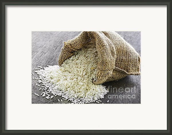 Long Grain Rice In Burlap Sack Framed Print By Elena Elisseeva