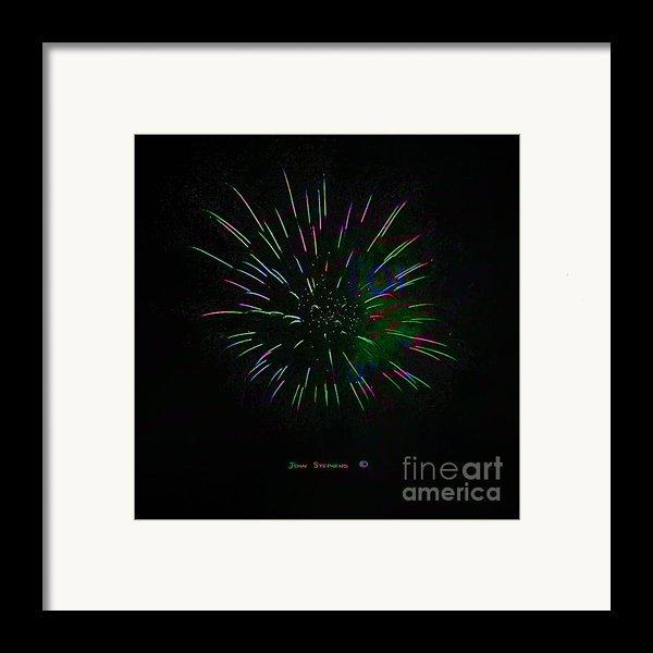 Psychedelic Fireworks Framed Print By John Stephens