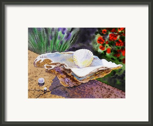 Sea Shell And Pearls Framed Print By Irina Sztukowski