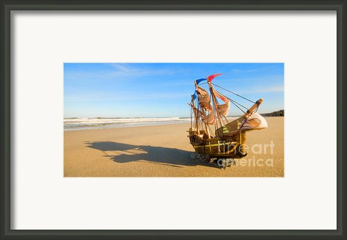 Ship Model On Summer Sunny Beach Framed Print By Michal Bednarek