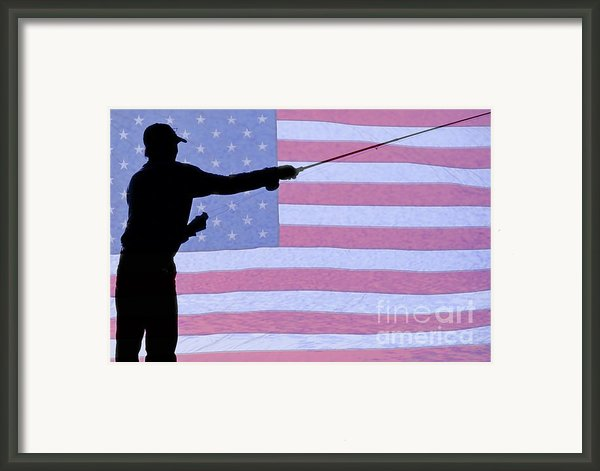 Silhouette Of A Fisherman Holding A Fishing Pole Framed Print By James Bo Insogna