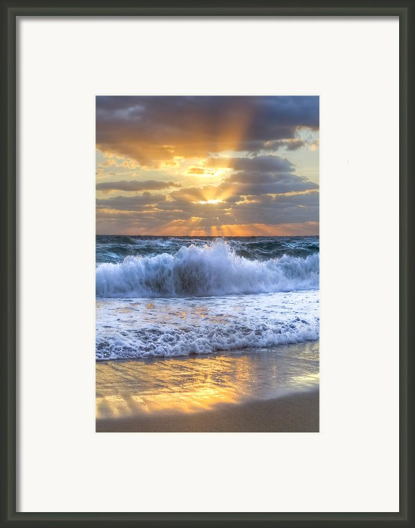 Splash Sunrise Framed Print By Debra And Dave Vanderlaan