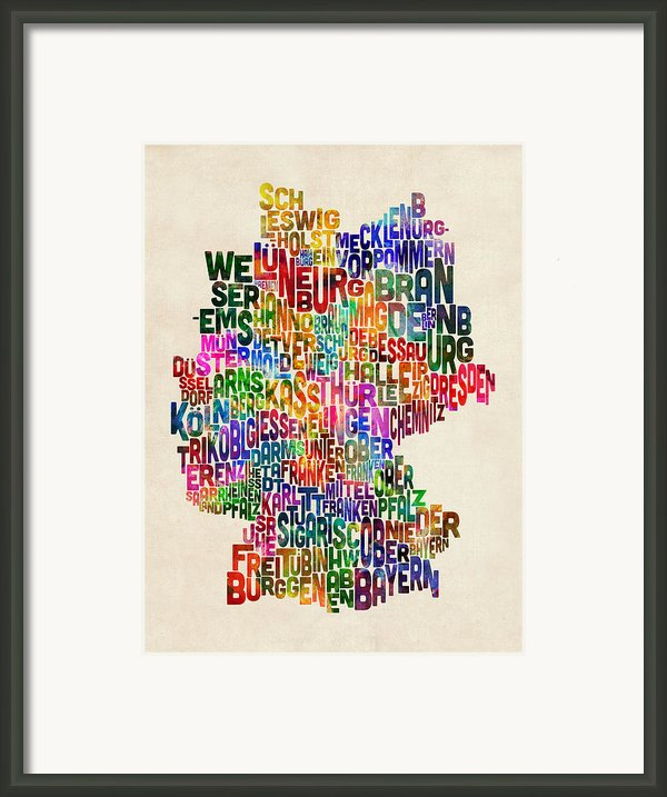 Text Map Of Germany Map Framed Print By Michael Tompsett