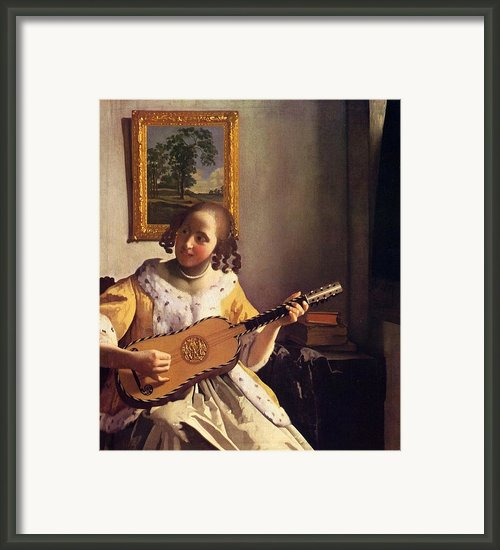 The Guitar Player Framed Print By Johannes Vermeer