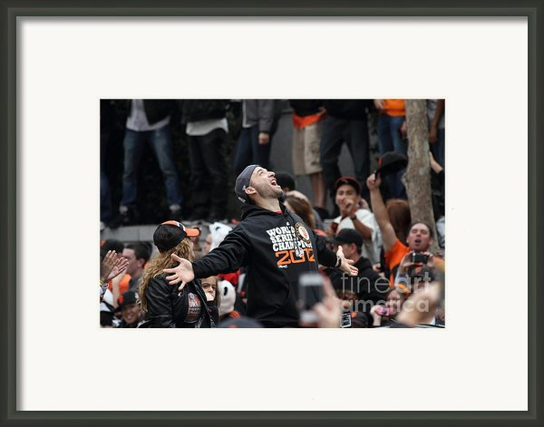 2012 San Francisco Giants World Series Champions Parade - Marco Scutaro - Dpp0008 Framed Print By Wingsdomain Art And Photography