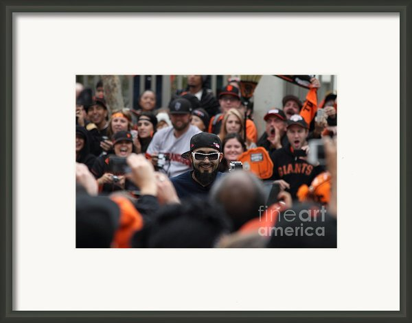 2012 San Francisco Giants World Series Champions Parade - Sergio Romo - Dpp0007 Framed Print By Wingsdomain Art And Photography