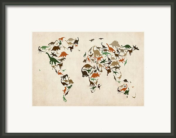 Dinosaur Map Of The World Map Framed Print By Michael Tompsett