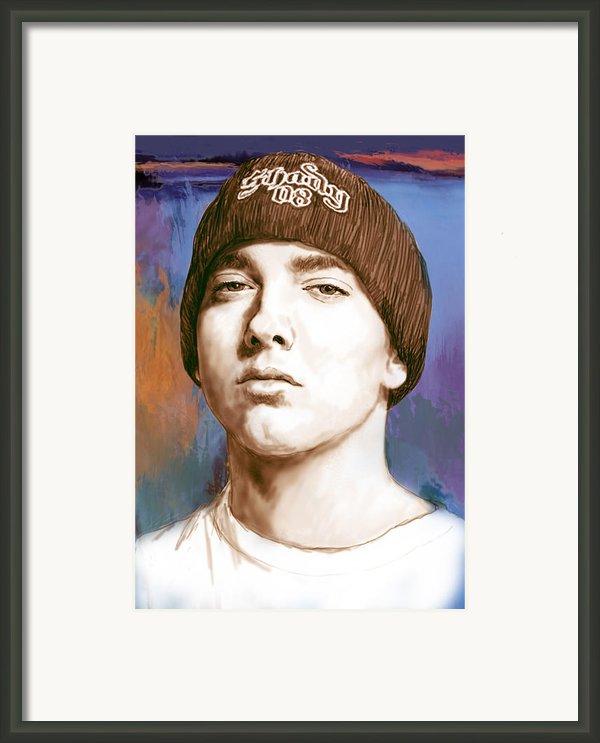 Eminem - Stylised Drawing Art Poster Framed Print By Kim Wang