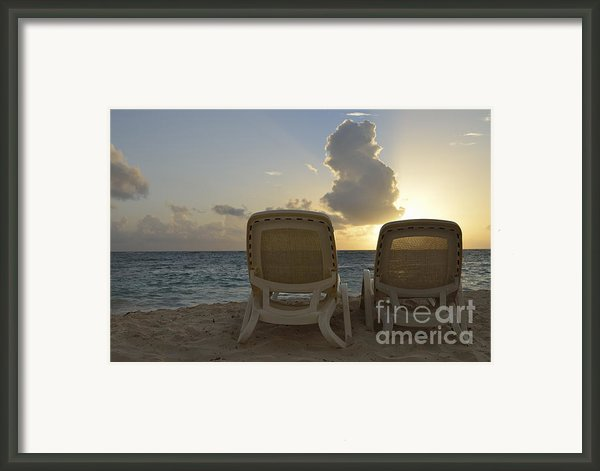 Sun Lounger On Tropical Beach Framed Print By Sami Sarkis