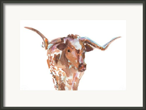 The Original Texas Longhorn Framed Print By Kathleen Mcelwaine