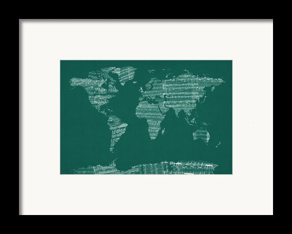 Map Of The World Map From Old Sheet Music Framed Print By Michael Tompsett