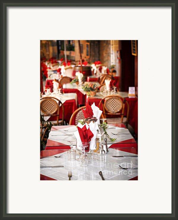 Restaurant Patio In France Framed Print By Elena Elisseeva