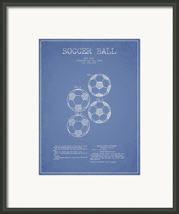 Vintage Soccer Ball Patent Drawing From 1964 Framed Print By Aged Pixel