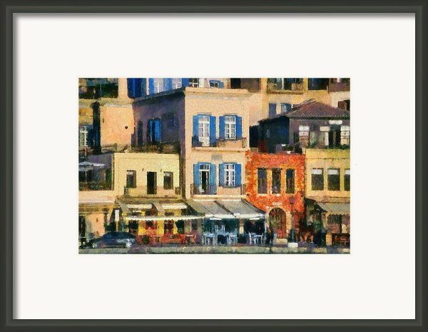 Painting Of The Old Port Of Chania Framed Print By George Atsametakis