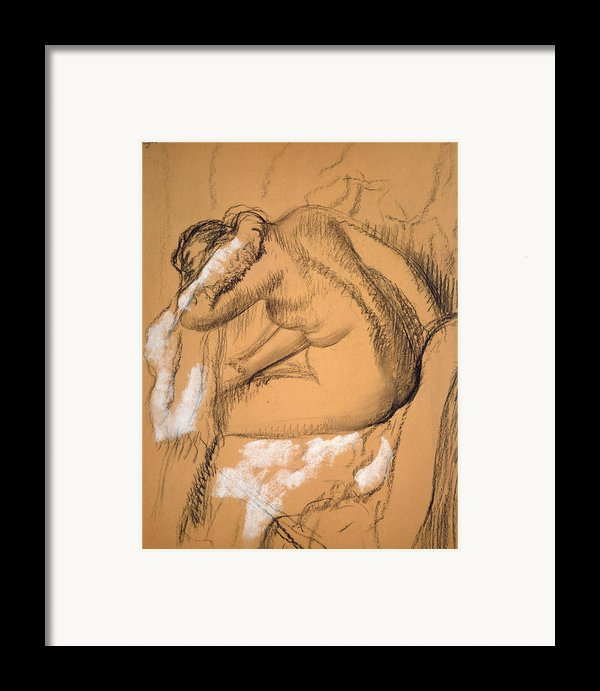 Woman Drying Herself  Framed Print By Edgar Degas