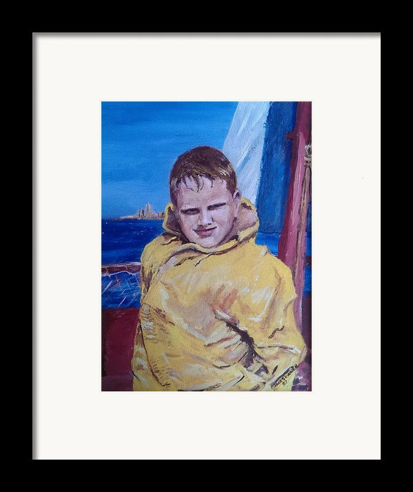 A Boy On A Boat Framed Print By Jack Skinner