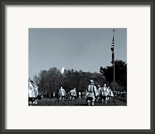 A Combat Patrol Heads For The Woods Framed Print By Nadine And Bob Johnston