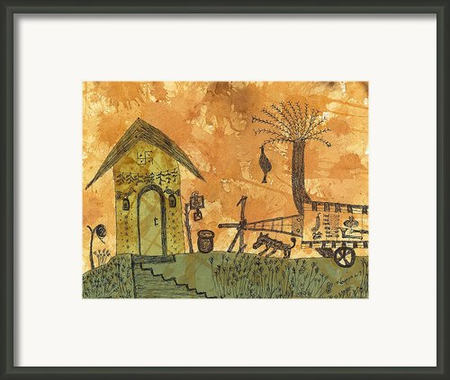 A Farm In India With Hut And Bull Cart Framed Print By Nikunj Vasoya