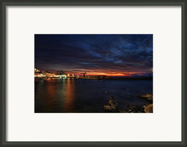 A Flaming Sunset At Tel Aviv Port Framed Print By Ron Shoshani