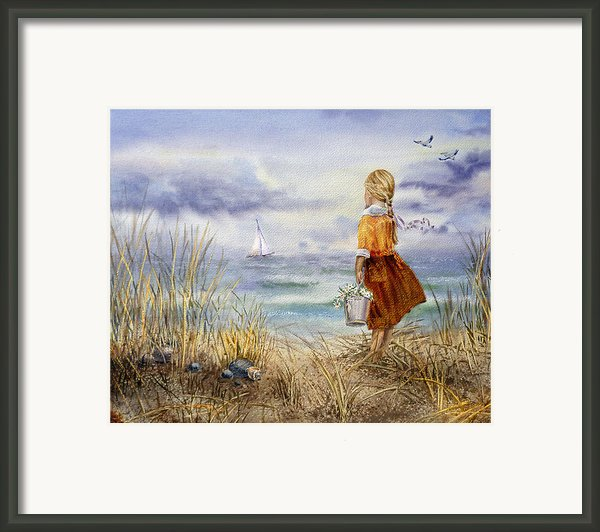 A Girl And The Ocean Framed Print By Irina Sztukowski