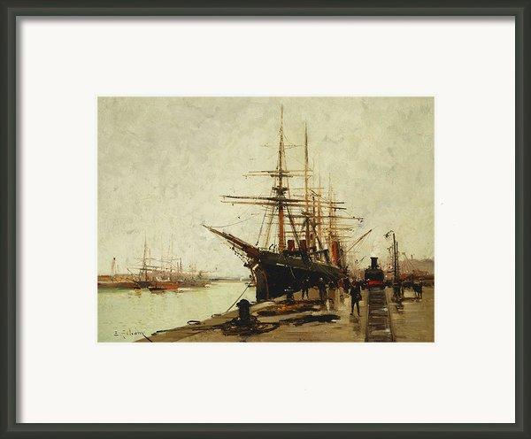 A Harbor Framed Print By Eugene Galien-laloue
