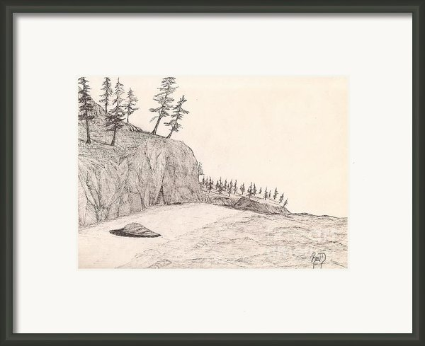 A Lakeshore... Sketch Framed Print By Robert Meszaros