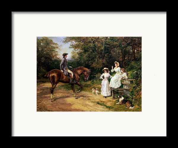 A Meeting By A Stile  Framed Print By Heywood Hardy