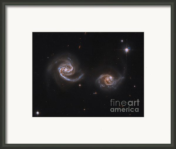 A Pair Of Interacting Spiral Galaxies Framed Print By Roberto Colombari
