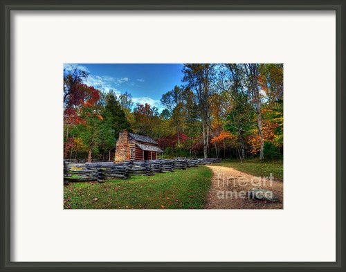 A Smoky Mountain Cabin Framed Print By Mel Steinhauer