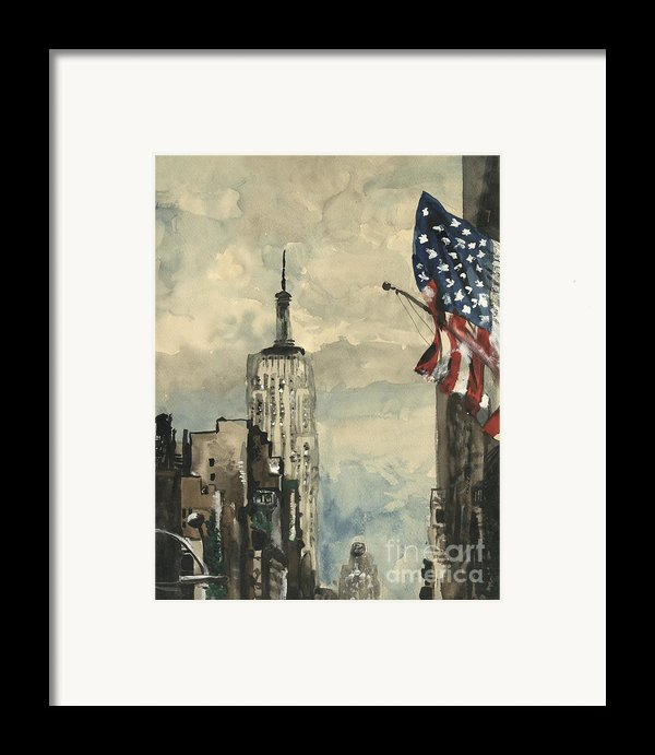 A Watercolor Sketch Of New York Framed Print By George Siedler