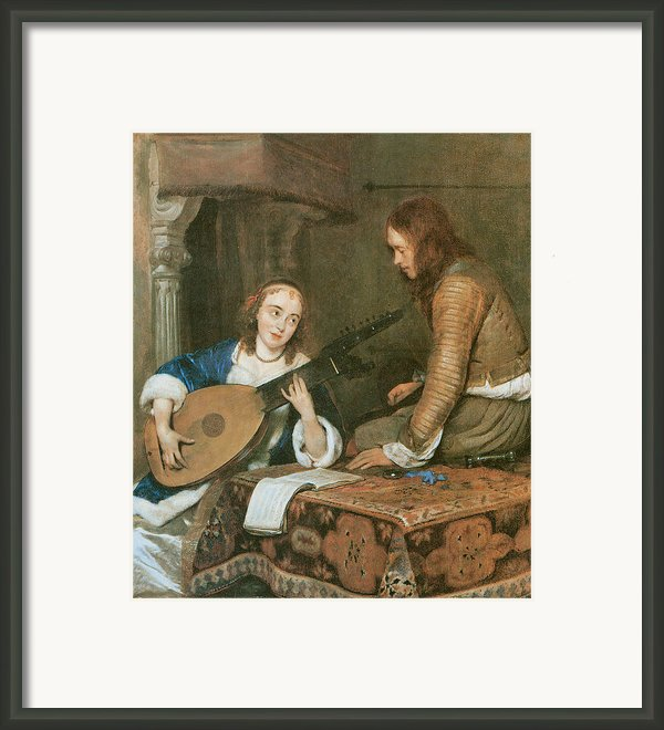 A Woman Playing The Theorbo-lute And A Cavalier Framed Print By Gerard Terborch