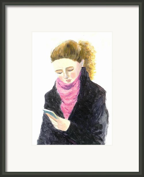 A Woman Texting W Cell Phone Framed Print By Jingfen Hwu
