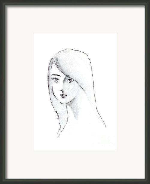 A Woman With Long Hair Framed Print By Jingfen Hwu