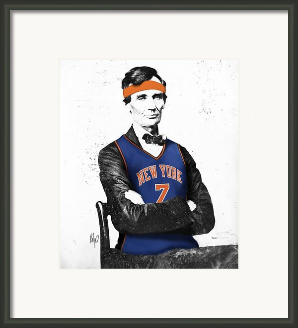 Abe Lincoln In A Carmelo Anthony New York Knicks Jersey Framed Print By Roly D Orihuela