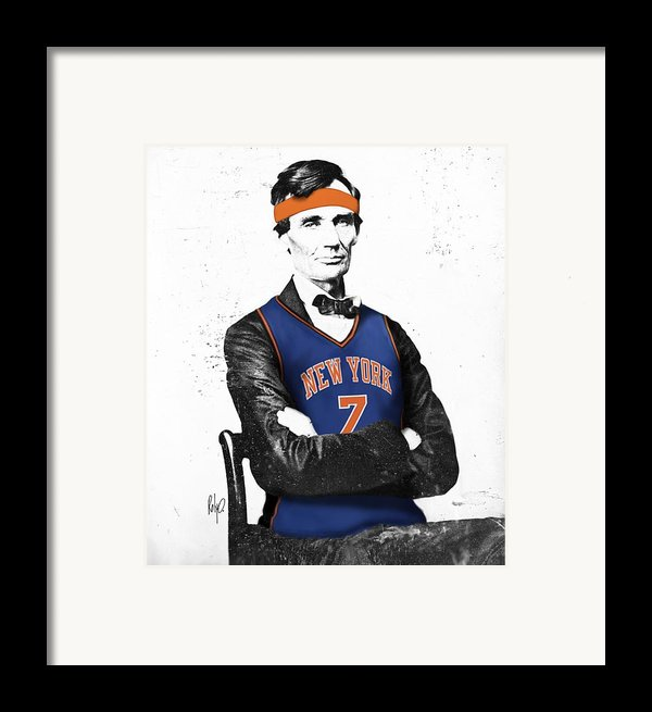 Abe Lincoln In A Carmelo Anthony New York Knicks Jersey Framed Print By Roly Orihuela