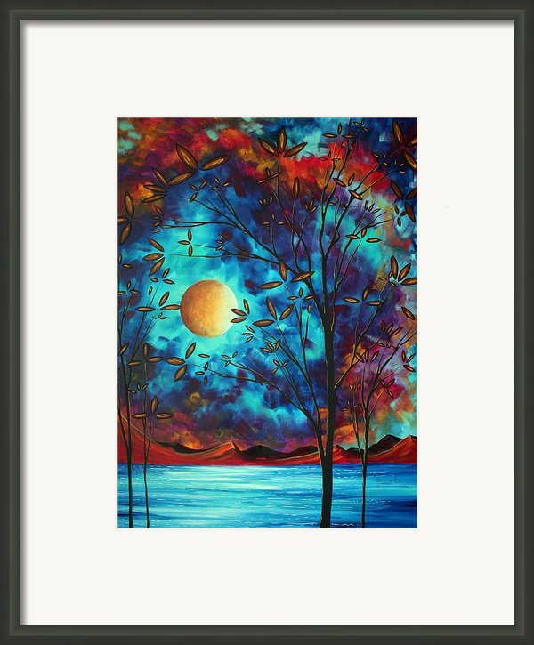 Abstract Art Landscape Tree Blossoms Sea Moon Painting Visionary Delight By Madart Framed Print By Megan Duncanson