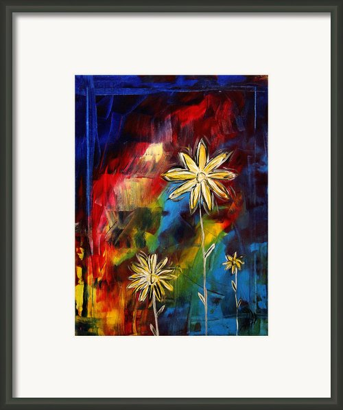 Abstract Art Original Daisy Flower Painting Visual Feast By Madart Framed Print By Megan Duncanson