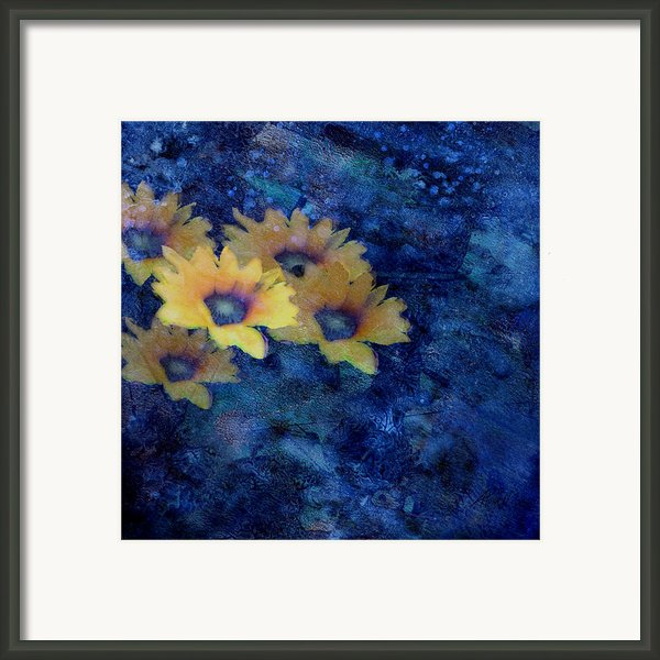 Abstract Daisies On Blue Framed Print By Ann Powell